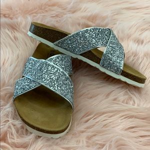 Silver glitter, Sandals from Office Girl.